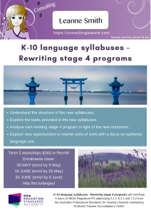K-10 language syllabuses - rewriting stage 4 programs